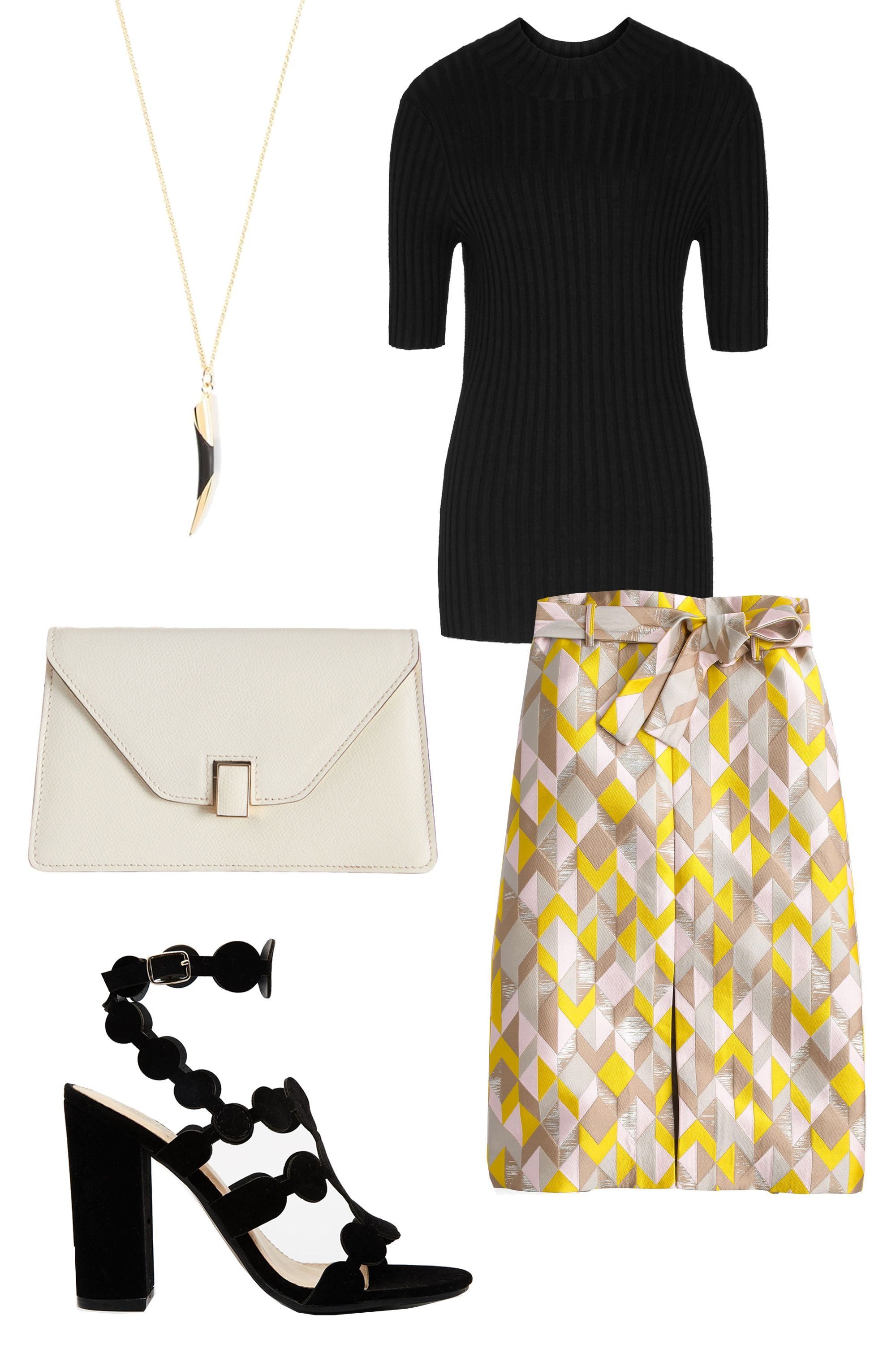"<p>Work in a creative office environment? Try a simple black top and bold skirt that would happen to fit in at a lounge as well.</p><p>J.Crew Collection Chevron Jacquard Skirt, $395; <a href=""https://www.jcrew.com/womens_category/Collection/skirtsshorts/PRDOVR~E3179/E3179.jsp"" target=""_blank""><u>jcrew.com</u></a></p><p>Reese High-Neck Ribbed Jumper, $170; <a href=""https://www.reiss.com/us/p/highneck-ribbed-jumper-womens-chambers-in-black/?category_id=1122"" target=""_blank""><u>reiss.com</u></a></p><p>Valextra Isis Gioello Mini Clutch, $1,350; <a href=""http://www.barneys.com/valextra-isis-gioiello-mini-clutch-501686870.html#prefn1=productAccess&sz=96&prefv1=isPublic&pageviewchange=true&start=6"" target=""_blank""><u>barneys.com</u></a></p><p>Public Desire Farah Black Heeled Sandals, $54; <a href=""http://us.asos.com/Public-Desire-Farah-Black-Heeled-Sandals/18cre0/?iid=6061067&cid=6461&sh=0&pge=0&pgesize=36&sort=-1&clr=Black&totalstyles=714&gridsize=3&mporgp=L1B1YmxpYy1EZXNpcmUvUHVibGljLURlc2lyZS1GYXJhaC1CbGFjay1IZWVsZWQtU2FuZGFscy9Qcm9kLw.."" target=""_blank""><u>asos.com</u></a></p><p>Maiyet Horn Tip Necklace, $551; <a href=""http://www.farfetch.com/shopping/women/Maiyet-horn-tip-necklace-item-10758770.aspx?gclid=CKWMx6ya4MkCFcRlfgodjNQLkA&fsb=1&ef_id=VgGCewAABd6-iguD:20151216104829:s"" target=""_blank""><u>farfetch.com</u></a></p>"