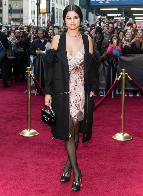 <p>Who: Selena Gomez</p><p>When: December 11, 2015</p><p>Why:  Selena Gomez' Rodarte outfit may look a little weird at first glance, but after staring at it I find it pretty endearing. The flapper dress on its own looked more like a <em>Dancing with the Stars</em> costume, but the fur-trimmed, cold-shoulder overcoat adds a modern touch to the flashy dress. </p>