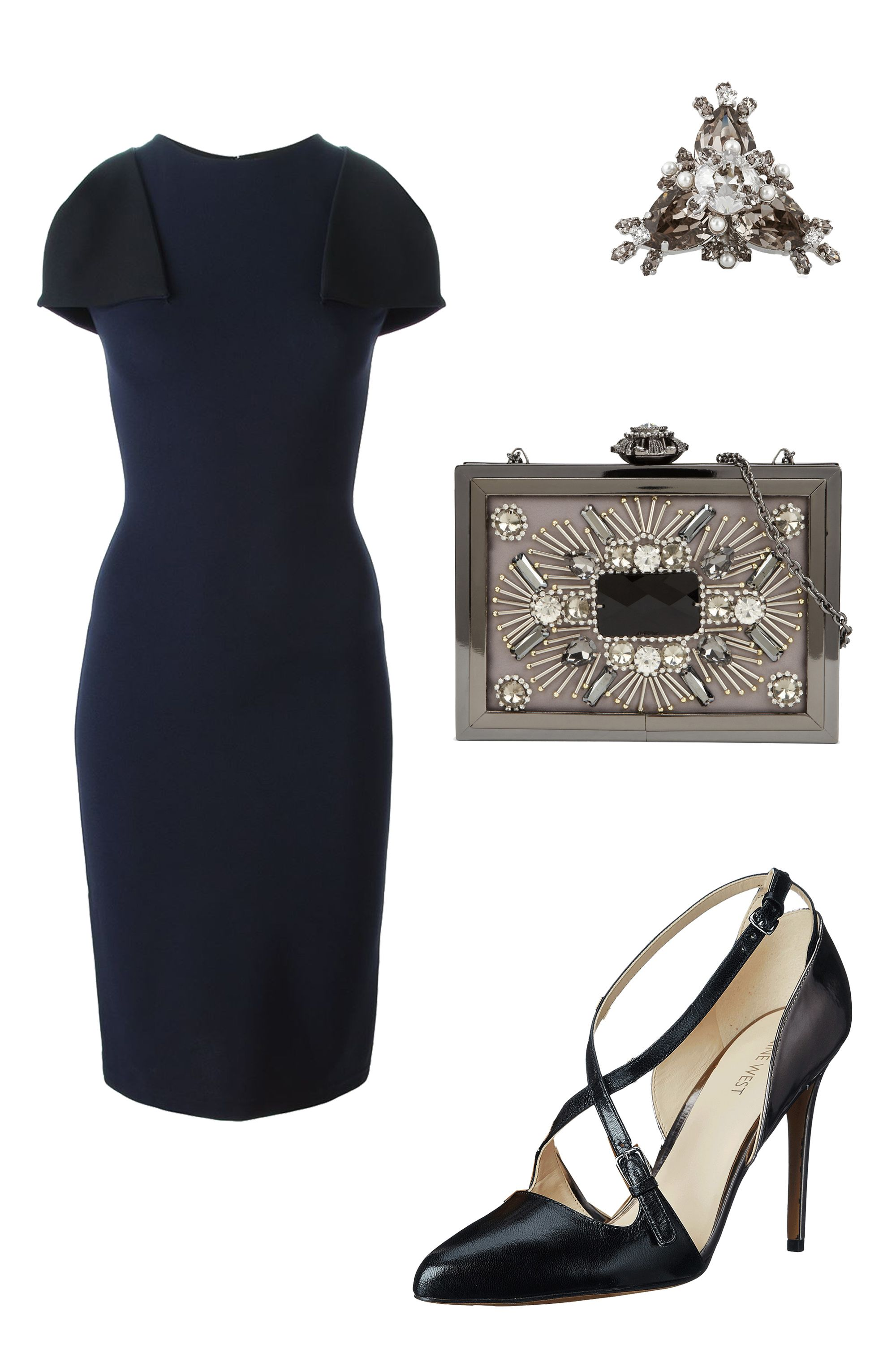 "<p>A boss-lady sheath and pointy-toe pumps works for a boardroom presentation <em>and</em> a romantic dinner, plus champagne nightcap. </p><p>Christopher Kane Flap Sleeve Pencil Dress, $464; <a href=""http://www.farfetch.com/shopping/women/christopher-kane-flap-sleeves-pencil-dress-item-11068087.aspx?storeid=9258&ffref=lp_pic_2_9_"" target=""_blank"">farfetch.com</a><br></p><p>Givenchy Cocktail Ring, $765; <a href=""http://www.net-a-porter.com/us/en/product/511260/givenchy/cocktail-ring-in-palladium-tone-brass--crystal-and-faux-pearl"" target=""_blank"">net-a-porter.com</a></p><p>Aldo Windflower, $60; <a href=""http://www.aldoshoes.com/us/en_US/handbags/clutches-%26-evening-bags/c/343/WINDFLOWER/p/44181253-12?position=4"" target=""_blank"">aldoshoes.com</a></p><p>Nine West Earnest, $89; <a href=""http://www.zappos.com/product/8713817/color/63144"" target=""_blank"">zappos.com</a></p>"