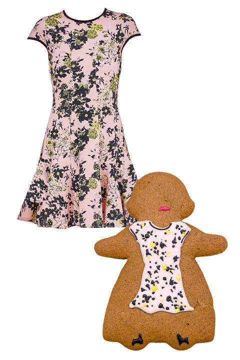 Textile, Pattern, Dress, One-piece garment, Day dress, Peach, Design, Pattern, Fashion design,