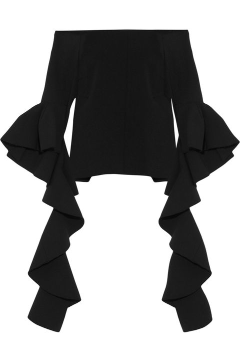 "<p>Ellery Delores Ruffled Off-the-Shoulder Crepe Top, $990; <u><a href=""http://www.net-a-porter.com/us/en/product/696562/Ellery/delores-ruffled-off-the-shoulder-crepe-top"" target=""_blank"">net-a-porter.com</a></u></p>"