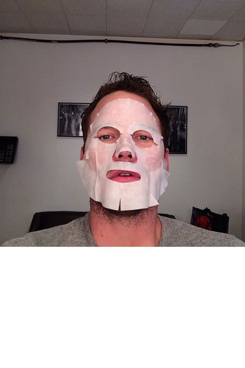"<p>""Backstage @Letterman I'm wearing this creepy mask because it will make me look more radiant? #Baller#guardiansofthegalaxy.""</p>"