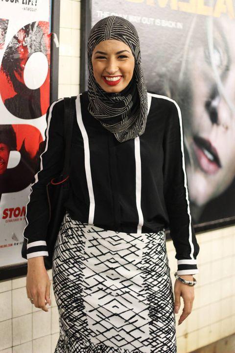 Nose, Mouth, Sleeve, Style, Pattern, Fashion, Street fashion, Waist, Belt, Beanie,