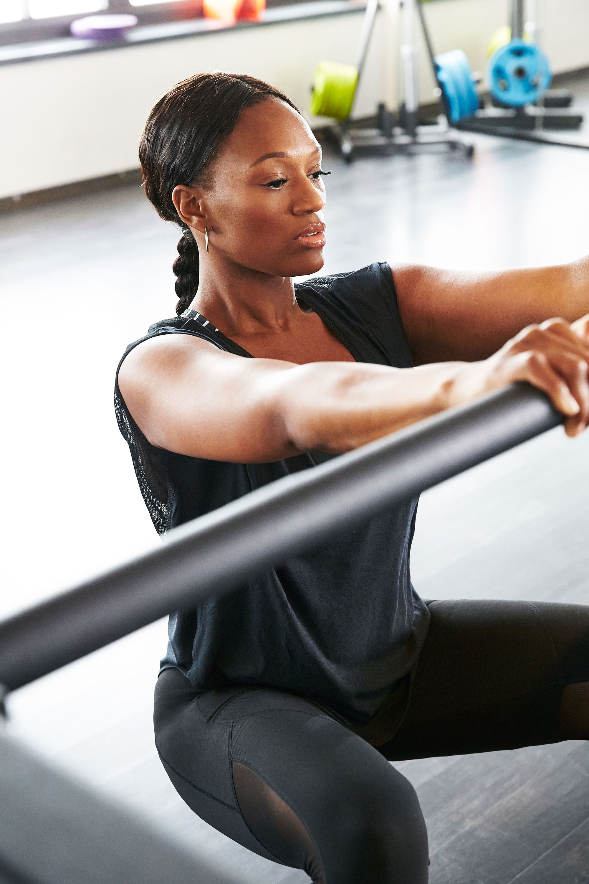 """<p>""""Warm up in a deep sitting position, while holding on to something for stability (a kitchen counter or the edge of your bed works), to mobilize the glutes and activate your back,"""" explains Pisano. """"This helps prepare your core for the intensive sequence.""""</p><p>Old Navy Light Support Ruched Cami Sports Bra in Black Stripe Top, $12, <a href=""""http://oldnavy.gap.com/browse/product.do?cid=1031681&vid=1&pid=429321142"""" target=""""_blank"""">oldnavy.com</a>&#x3B; Nike T-Shirt With Back Panel Detail, $53.75, <a href=""""http://www.asos.com/Nike/Nike-T-Shirt-With-Back-Panel-Detail/Prod/pgeproduct.aspx?iid=5839328&istCompanyId=6f061ed0-7427-4b6c-bb90-987c0bd08468&istItemId=qwrrwtlxx&istBid=tztx&affid=14173&channelref=google+shopping&utm_source=google&utm_medium=ppc&utm_term=65701215872&utm_content=&utm_campaign=&cvosrc=ppc.google.65701215872&network=g&mobile=&search=1&content=&creative=84679695741&ptid=65701215872&adposition=1o1&r=2&mk=ab&gclid=CjwKEAiA2IO0BRDXmLndksSB0WgSJADNKqqoIVvvmFsFKL65ykts8W1CpgiHbVgsRoDv4-ueDe1erhoCfZrw_wcB"""" target=""""_blank"""">asos.com</a>&#x3B; Old Navy Mesh-Panel Compression Leggings in Blackjack, $32.94, <a href=""""http://oldnavy.gap.com/browse/product.do?cid=53935&vid=1&pid=597001002"""" target=""""_blank"""">oldnavy.com</a>&#x3B; Nike Air Zoom Fit Agility 2 in Black/White, $130, <a href=""""http://store.nike.com/us/en_us/pd/air-zoom-fit-agility-2-training-shoe/pid-10337859/pgid-10337860"""" target=""""_blank"""">nike.com</a></p>"""