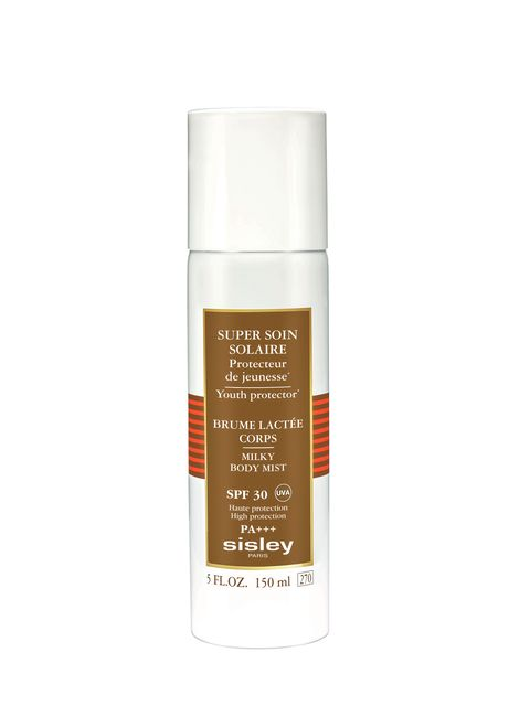 "<p>Sisley Super Soin Solaire Milky Body Mist SPF 30 isn't yet available on U.S. shelves, but ELLE Thailand's Nuttika Ongksirimemongkol loves it not only for its ""light and nongreasy"" finish, but for its antiaging properties, thanks to edelweiss extract and vitamin E. </p>"