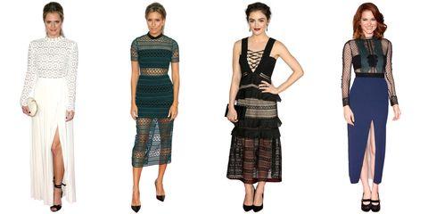 Sleeve, Shoulder, Standing, Waist, Joint, Pattern, Style, Formal wear, Dress, Fashion,