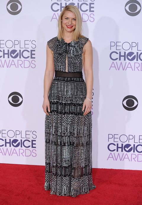 """<p>Who: Claire Danes</p><p>When: January 06, 2015</p><p>Why: We'll always remember Claire Danes as brooding Angela in <em>My So-Called Life, </em>but she has long since grown up. Wowing in a metallic Burberry dress and Jimmy Choo heels, we <em>almost </em><span class=""""redactor-invisible-space"""">prefer this Claire over her flannel days. </span></p>"""