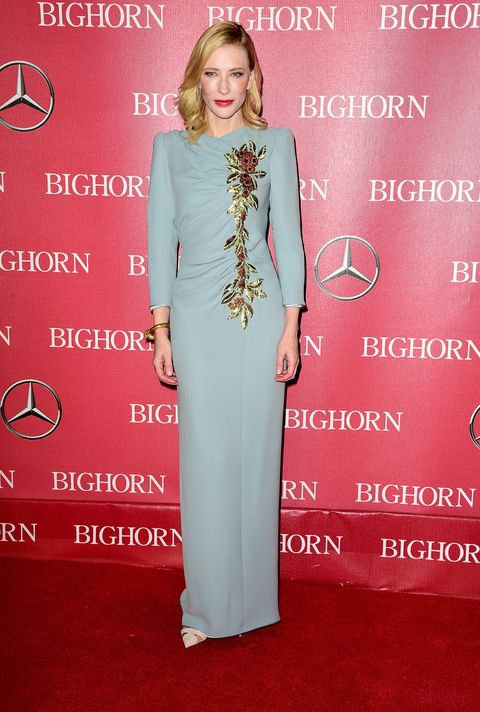 <p>Who: Cate Blanchett</p><p>When: January 2, 2016</p><p>Why: Blanchett starts 2016 off right in a powder blue custom-made dress by Marc Jacobs. She accessorized her '40s-inspired look with a Tiffany & Co. giraffe bracelet.</p>