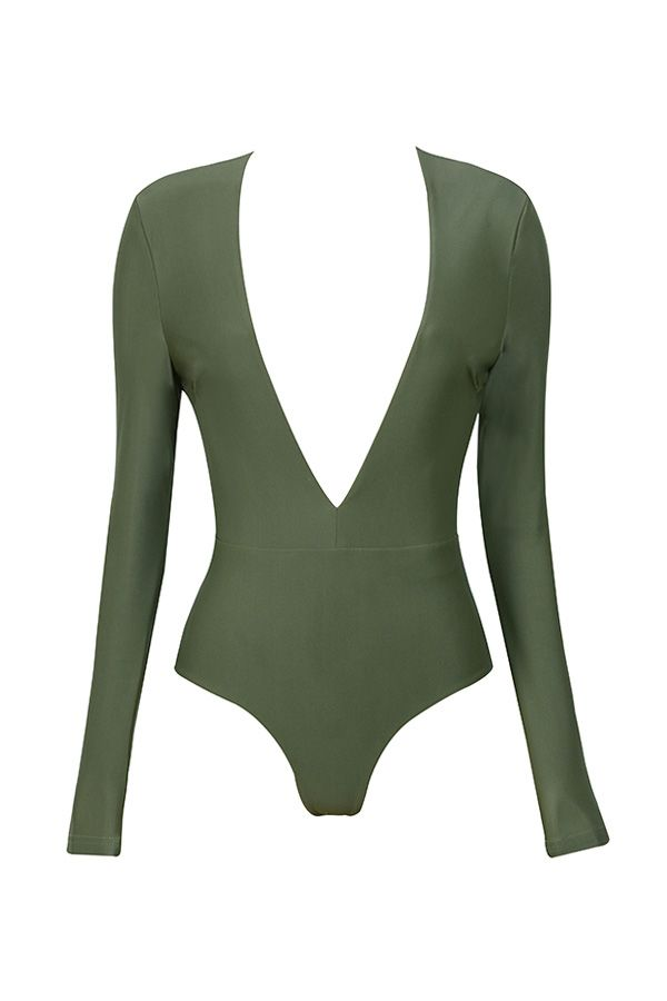 "<p>House of CB Lorenza Deep V Bodysuit, $119; <a href=""http://www.houseofcb.com/lorenza-khaki-silky-jersey-deep-v-bodysuit-us.html"">houseofcb.com</a> </p>"