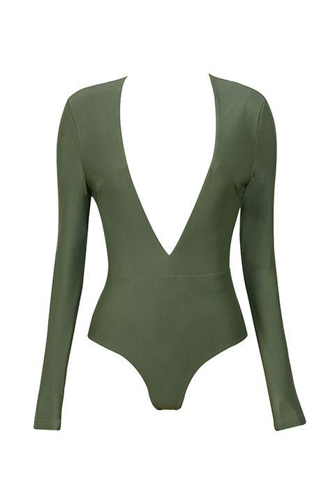 "<p>House of CB Lorenza Deep V Bodysuit, $119; <a href=""http://www.houseofcb.com/lorenza-khaki-silky-jersey-deep-v-bodysuit-us.html"">houseofcb.com</a> </p>"