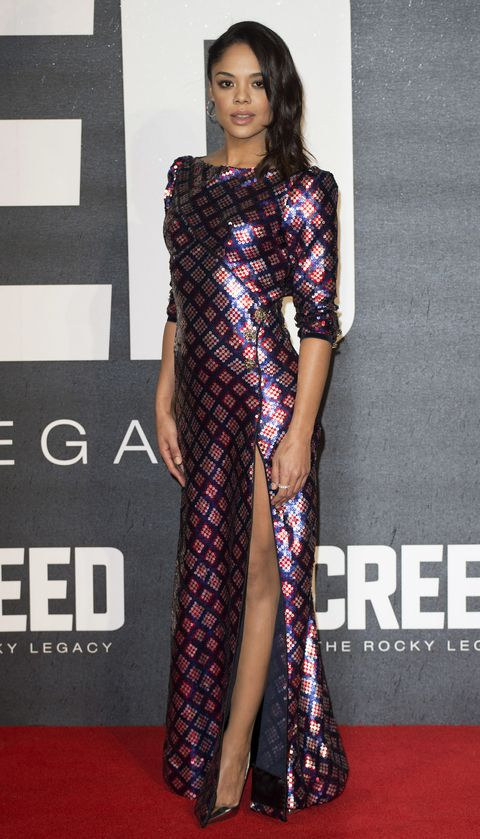 <p>Who: Tessa Thompson</p><p>When: January 12, 2015</p><p>Why: Tessa Thompson donned a sequined plaid Marc Jacobs dress from the Spring collection this week. Her simple silver accessories complement the gown's major shine. </p>