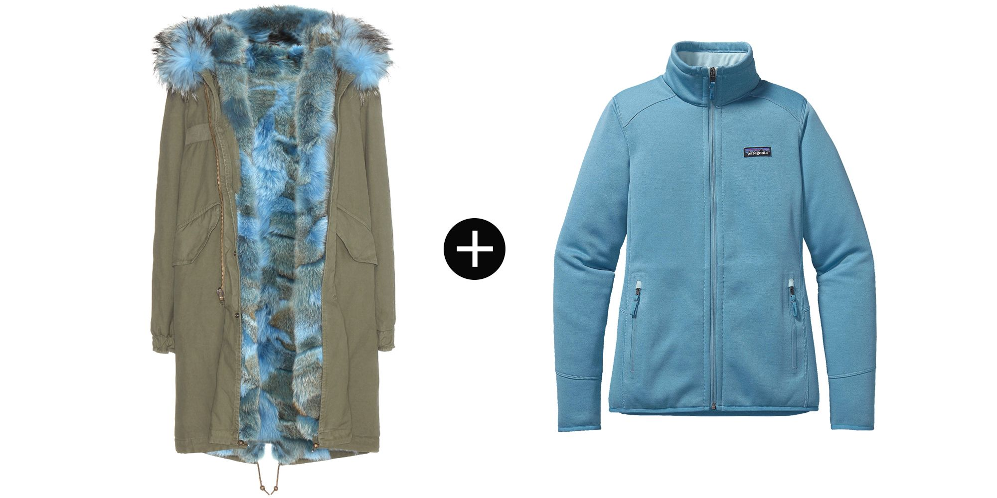 "<p>Mr & Mrs Italy Fur-Lined Parka with Fur-Trimmed Hood, $6,800; <a href=""http://www.mytheresa.com/en-us/fur-lined-parka-with-fur-trimmed-hood-387322.html?catref=category"" target=""_blank"">mytheresa.com</a></p><p>Patagonia Women's Tech Fleece Jacket, $129; <a href=""http://www.patagonia.com/us/product/womens-tech-fleece-jacket?p=25935-0-CTYB"" target=""_blank"">patagonia.com</a></p>"
