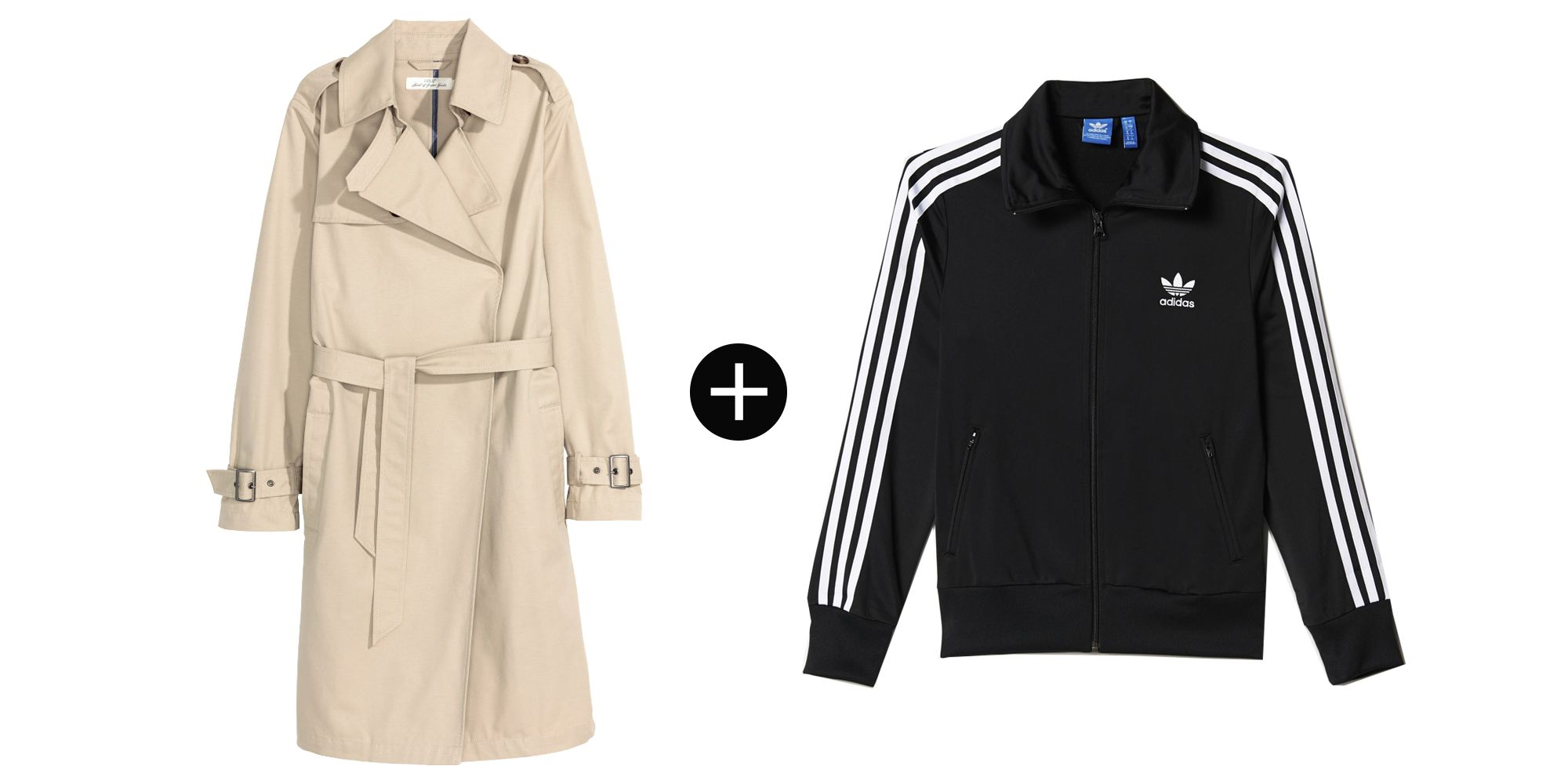 """<p>H&M Trench Coat, $60; <a href=""""http://www.hm.com/us/product/37482?article=37482-A"""" target=""""_blank"""">hm.com</a></p><p>Adidas Firebird Track Jacket, $70; <a href=""""http://www.adidas.com/us/firebird-track-jacket/AJ8416.html"""" target=""""_blank"""">adidas.com</a></p>"""