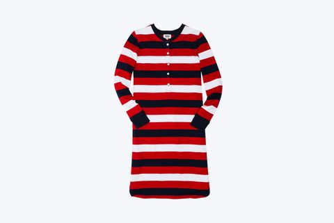 "<p>Sleepy Jones Sydney Henley Knit Dress, $148&#x3B; <a href=""http://shop.sleepyjones.com/products/sydney-henley-knit-dress-border-rugby-stripe-red-navy-white"">shop.sleepyjones.com</a></p><p><strong><strong>How soon can I get it?</strong> </strong>FedEx Next Day Air them for $30. <br></p>"