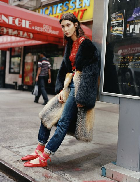<p>Raccoon and fox coat, POLOGEORGIS, price on request, visit pologeorgis.com. Filigree lace top, OSCAR DE LA RENTA, $1,590. Cotton jeans, A.P.C., $275. Calfskin belt, $120, buckle, $720, both, PAT AREIAS. Rose gold and diamond locket, $1,225, rose gold chain, $425, both, TIFFANY & CO. Satin ballet slippers, BALLET BEAUTIFUL, $120. </p>