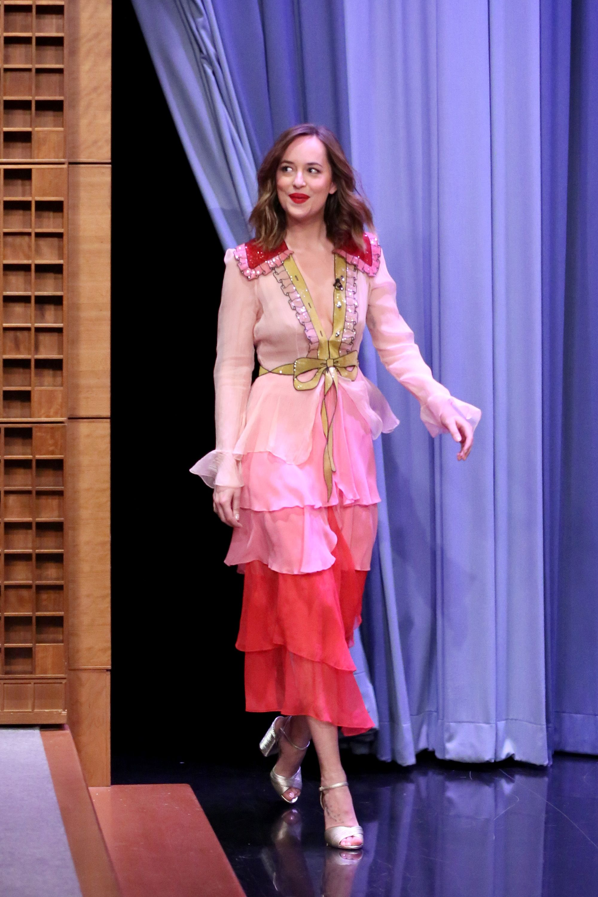 <p>Who: Dakota Johnson</p><p>When: January 20, 2016</p><p>Why: Johnson donned what is probably one our favorite looks from Gucci's Spring collection. With its sequin embellishments and pink ombre flirty tiered skirt, it's another great look to add to her ever-inspiring style. </p>