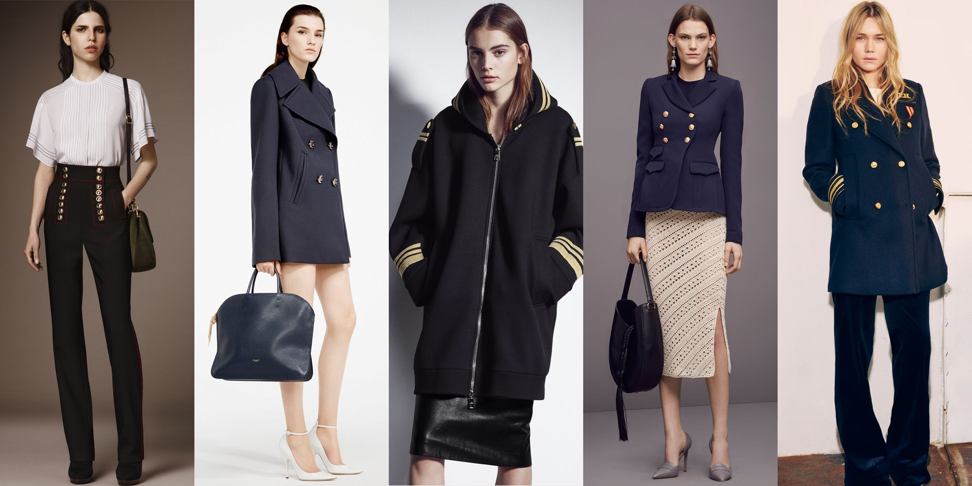 <p>We've seen army fatigues for the past few seasons, but this season, designers are turning toward a new military branch: the Navy. Pieces to invest in: sailor pants and double breasted coats. </p><p><br></p><p><em>Left to Right: Burberry, Nina Ricci, Neil Barrett, Altuzarra, Tommy Hilfiger</em></p>