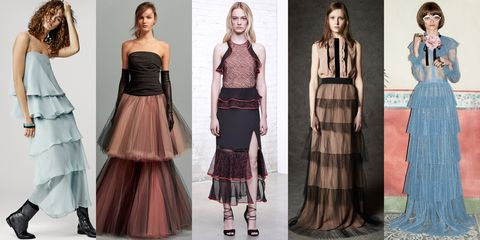 <p>The multi-layered skirt is about to become a mainstay in our closets. Gucci's ongoing style of decadent kitsch is pioneering the look in pastel and pleats, giving this trend lush texture. </p><p><em>Left to Right: Giorgio Armani, Oscar de la Renta, Jonathan Simkhai, No. 21, Gucci</em></p>