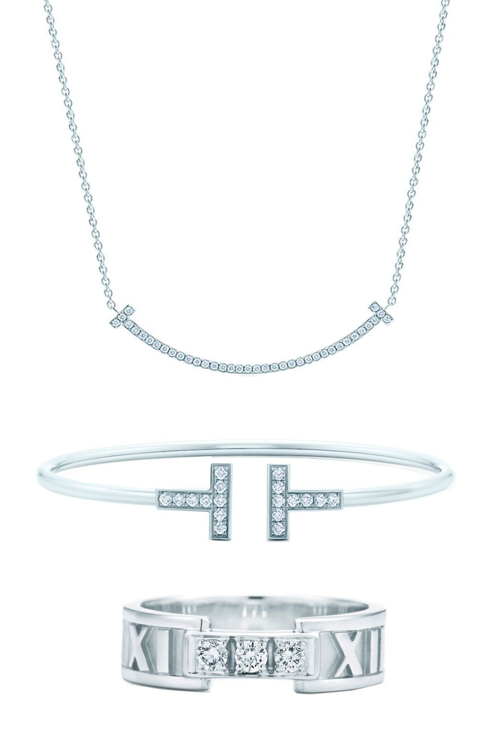 """<p>Tiffany & Co. Smile Pendant Necklace, $1,900; <a href=""""http://www.tiffany.com/jewelry/necklaces-pendants/tiffany-t-smile-pendant-34684448?fromGrid=1&search_params=p+1-n+10000-c+3240509-s+5-r+-t+-ni+1-x+-lr+-hr+-ri+-mi+-pp+1609+6&search=0&origin=browse&searchkeyword=&trackpdp=bg&fromcid=3240509"""">tiffany.com</a></p><p>Tiffany & Co. Wire Bracelet, $3,200; <a href=""""http://www.tiffany.com/jewelry/bracelets/tiffany-t-wire-bracelet-GRP07783?fromGrid=1&search_params=p+1-n+10000-c+3240509-s+5-r+-t+-ni+1-x+-lr+-hr+-ri+-mi+-pp+1709+6&search=0&origin=browse&searchkeyword=&trackpdp=bg&fromcid=3240509"""">tiffany.com</a></p><p>Tiffany & Co. Atlas® Open Ring, $2,100; <a href=""""http://www.tiffany.com/jewelry/rings/atlas-open-ring-GRP02996?fromGrid=1&search_params=p+1-n+10000-c+288192-s+5-r+-t+-ni+1-x+-lr+-hr+-ri+-mi+-pp+3285+6&search=0&origin=browse&searchkeyword=&trackpdp=bg&fromcid=288192"""">tiffany.com</a></p>"""