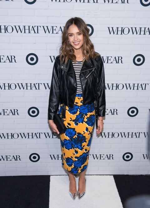 "<p>Who: Jessica Alba</p><p>When: January 27, 2016</p><p>Why: Alba expertly mixes leather, stripes, and florals from <a href=""http://www.elle.com/fashion/shopping/news/g27535/who-what-wear-for-target-images/"" target=""_blank"">Target's affordable new collab with <em>Who What Wear</em></a>. Clearly, she's a girl after our own, frugal hearts. The Honest Company founder accessorized her look with Brian Atwood pumps.</p>"