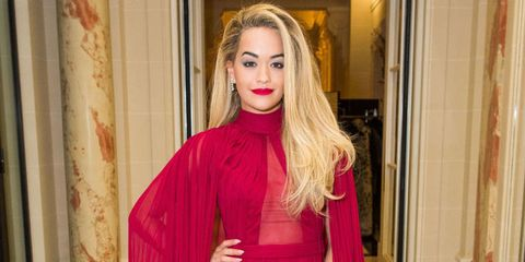 Rita Ora Had a Major Angelina Jolie Moment in This Pink Dress