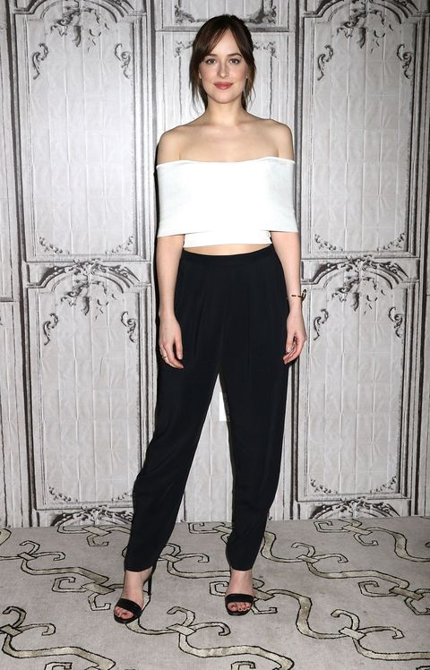 <p>Who: Dakota Johnson</p><p>When: February 4, 2016</p><p>Why: Dakota Johnson is quickly becoming one of the best dressed celebs in the industry. In Rosetta Getty, she proves the off-the-shoulder top is here to stay whether we want it to or not. </p>