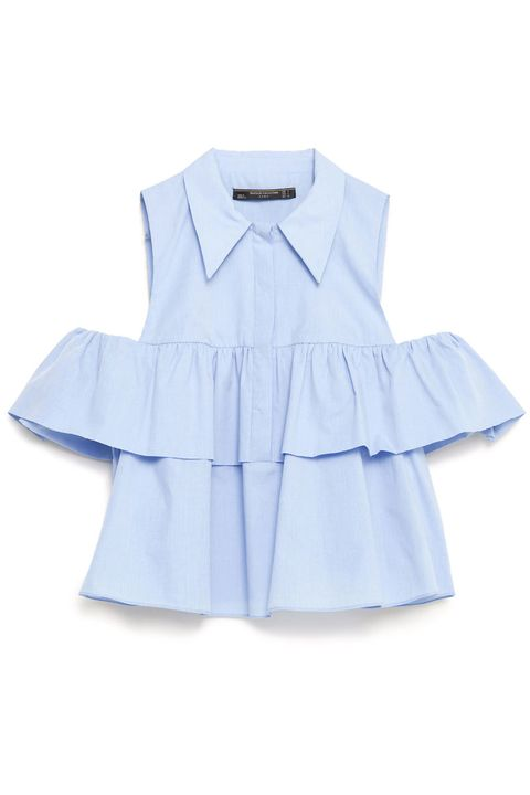 """<p> Zara Frilled Poplin Shirt, $36; <a href=""""http://www.zara.com/us/en/collection-ss16/woman/tops/view-all/frilled-poplin-shirt-c719021p3226062.html"""" target=""""_blank"""">zara.com</a></p>"""