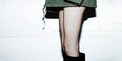 Clothing, Leg, Human leg, Textile, Joint, Fashion, Thigh, Black, Knee, Stocking,