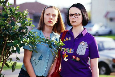 "<p><strong></strong><strong>The Squad</strong>: High schoolers Enid (Thora Birch) and Rebecca (Scarlett Johansson), who are uncertainly trying to navigate the world before graduation.</p><p><strong>The Motto</strong>: ""I think only stupid people have good relationships.""</p><p><strong>The Anthem</strong>: Mohammed Rafi's Bollywood number ""<a href=""https://www.youtube.com/watch?v=SA1qg9c6DCY"">Jaan Pehechaan Ho</a>""</p><p><strong>The Takeaway</strong>: It's okay to be weird and to look at things through your own individual lens. Also, maybe don't reply to romantic newspaper classified ads. </p>"