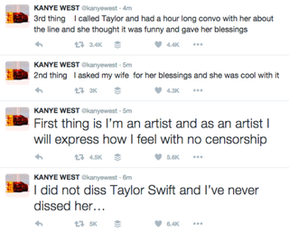 Kanye West Tries To Clarify Those Lyrics About Taylor Swift On Twitter