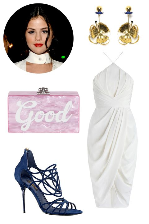 "<p>Selena Gomez seriously upped her style game post-Bieber. We imagine her wearing a slinky white dress and one of her favorite designers, Louis Vuitton, while out on the town. And who knows, maybe she <em>does</em> reference her own songs on an acrylic clutch? <em></em></p><p><em>Lizzie Fortunato Tahitian Flower Earrings, $195; <a href=""http://www.fivestoryny.com/shop/1073103710332128115?collection=45393523,45393251,45393253,45393399,45393521"" target=""_blank"">fivestoryny.com</a></em></p><p><em>Zimmermann Silk Tick Dress, $425; <a href=""https://us.zimmermannwear.com/readytowear/clothing/dresses/silk-tuck-dress-pearl.html"" target=""_blank"">zimmermannwear.com</a></em></p><p><em>Louis Vuitton Islands Sandal, $1,1110; <a href=""http://us.louisvuitton.com/eng-us/products/islands-sandal-012556"" target=""_blank"">louisvuitton.com</a></em></p><p><em>Edie Parker Jean Good, $1,295; </em><a href=""http://edie-parker.com/collections/all-products/products/jean-good-mauve"" target=""_blank""><em>edie-parker.com</em></a></p>"