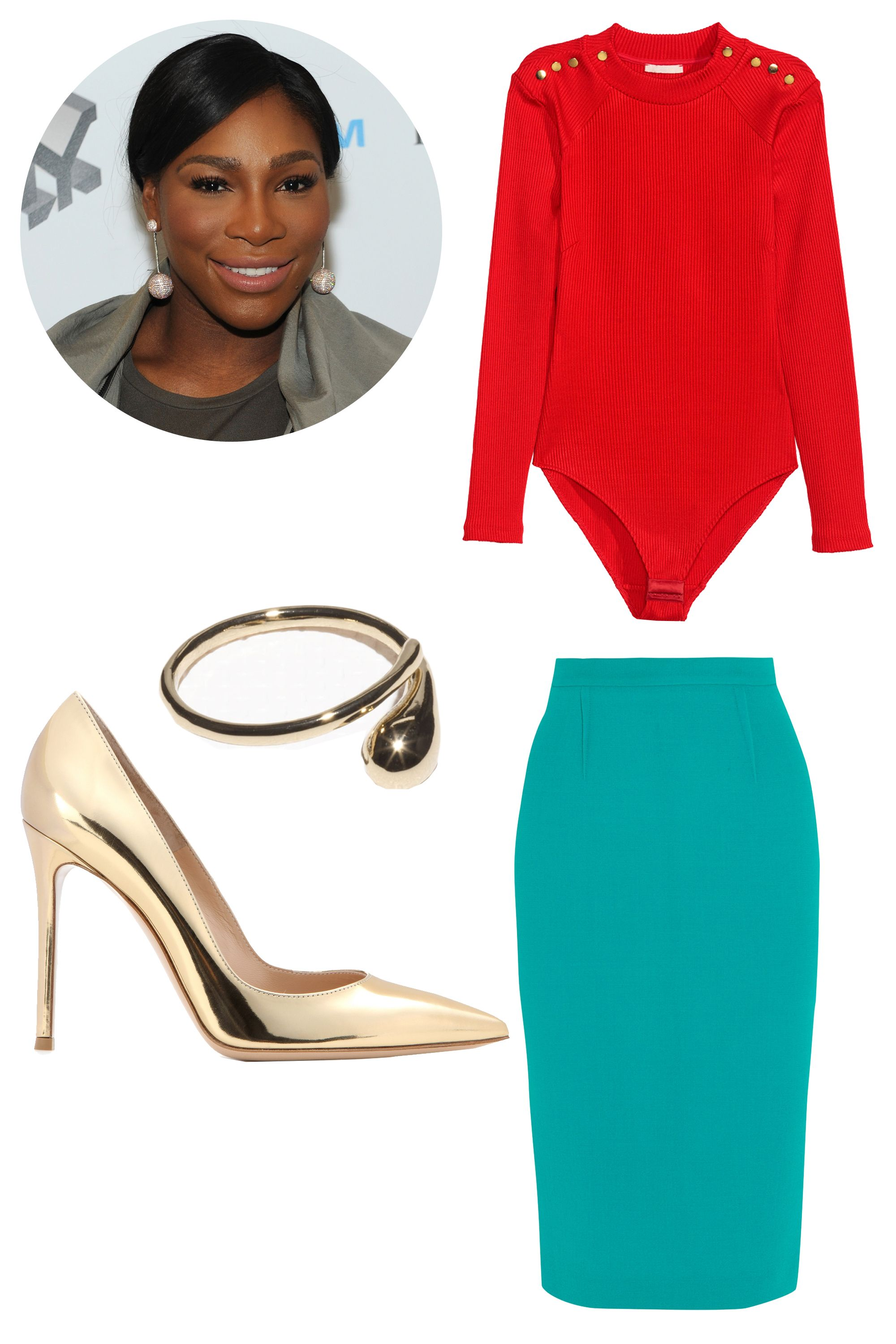 "<p>Serena Williams has a body she has <em>worked</em> for, and she loves to show it off in bright colors. This outfit is great for an extrovert going out to a nice dinner. <em></em></p><p><em>H&M Ribbed Bodysuit, $35; <a href=""http://www.hm.com/us/product/36027?article=36027-B"" target=""_blank"">hm.com</a></em></p><p><em>Roland Mouret Arreton Wool-Crepe Pencil Skirt, $875; <a href=""https://www.net-a-porter.com/us/en/product/651052/roland_mouret/arreton-wool-crepe-pencil-skirt"" target=""_blank"">net-a-porter.com</a></em></p><p><em>Gianvito Rossi Metallic Leather Pumps, $695; <a href=""http://www.mytheresa.com/en-us/metallic-leather-pumps-423836.html?catref=category"" target=""_blank"">mytheresa.com</a></em></p><p><em>& Other Stories Droplet Ring, $22; </em><a href=""http://www.stories.com/us/Jewellery/Rings/Droplet_Ring/582802-100516508.1"" target=""_blank""><em>stories.com</em></a></p>"