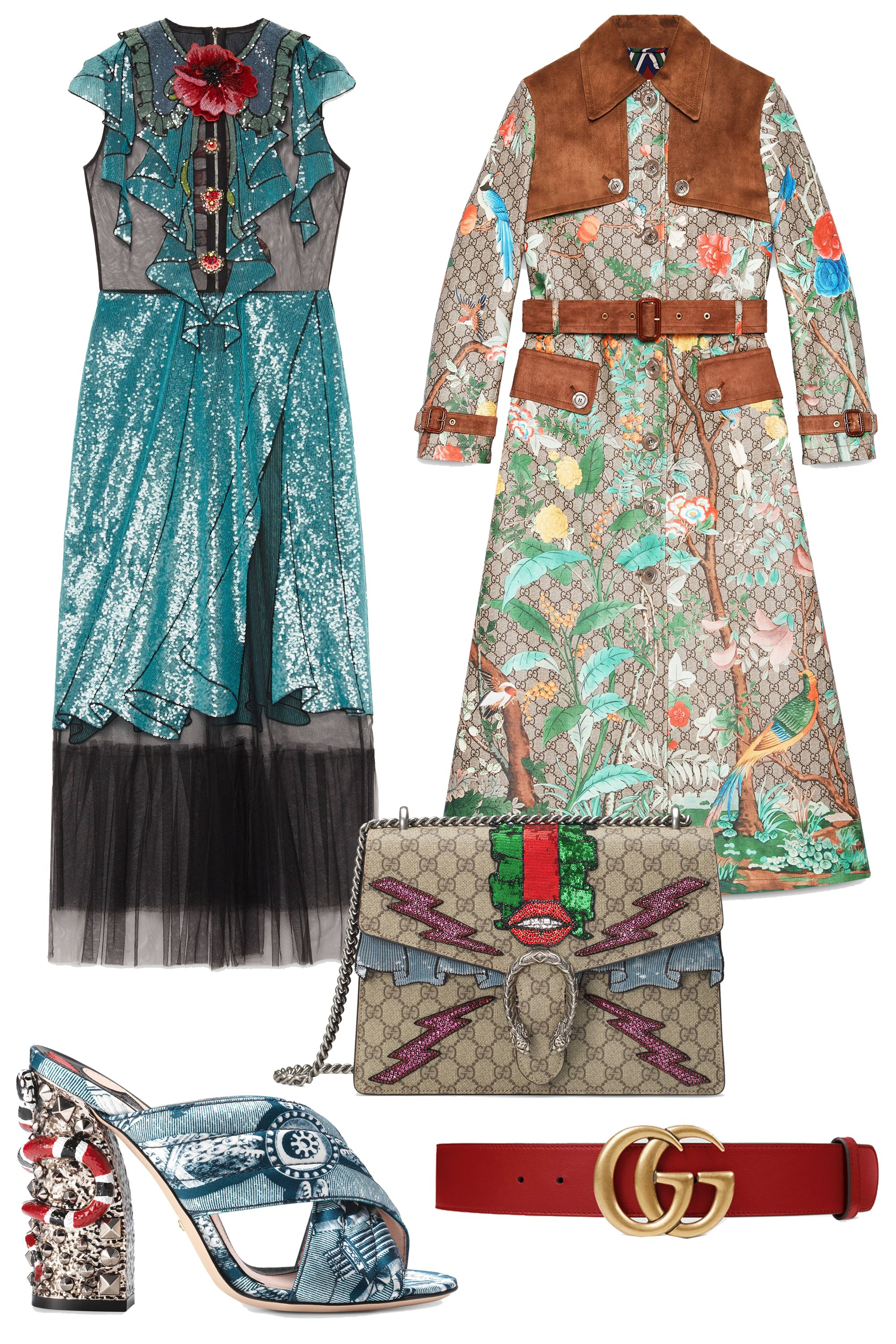 """<p>Sorry (not sorry) guys, we're still under the Gucci spell. Sequined trompe l'oeil dresses, monogrammed belts, Dionysus bags, classic loafers and sparkly mules— Alessandro Michele's whimsical creations will surely be seen everywhere.<em></em></p><p><em>Embroidered Tulle Dress, $7,900; <a href=""""https://www.gucci.com/us/en/pr/women/womens-ready-to-wear/womens-dresses-jumpsuits/dresses/embroidered-tulle-dress-p-421694ZGK161969?listName=LookDetailsCarouselComponent&position=1"""" target=""""_blank"""">gucci.com</a></em></p><p><em>Tian Print GG Supreme Coat, $5,990; <a href=""""https://www.gucci.com/us/en/pr/women/womens-ready-to-wear/womens-coats-outerwear/tian-print-gg-supreme-coat-p-420369ZGK302713?listName=LookDetailsCarouselComponent&position=1"""" target=""""_blank"""">gucci.com</a></em></p><p><em>Dionysus GG Supreme Embroidered Bag, $3,800; <a href=""""https://www.gucci.com/us/en/pr/women/handbags/womens-shoulder-bags/dionysus-gg-supreme-embroidered-bag-p-400235KWZYN8700?listName=LookDetailsCarouselComponent&position=2"""" target=""""_blank"""">gucci.com</a></em></p><p><em>Romain Satin Crossover Sandal, $990; <a href=""""https://www.gucci.com/us/en/pr/women/womens-shoes/womens-sandals/romain-satin-crossover-sandal-p-422050K0I004143?listName=LookDetailsCarouselComponent&position=4"""" target=""""_blank"""">gucci.com</a></em></p><p><em>Leather Belt with Double G Buckle, $420; </em><a href=""""https://www.gucci.com/us/en/pr/women/womens-accessories/womens-belts/leather-belt-with-double-g-buckle-p-400593AP00T6339?position=13&listName=ProductGridWComponent&categoryPath=Women/Womens-Accessories/Womens-Belts"""" target=""""_blank""""><em>gucci.com</em></a></p>"""
