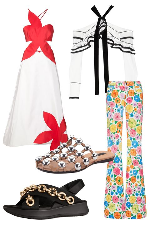 """<p>It's not fashion week unless someone is wearing seasonably inappropriate clothing or footwear. With all of <a href=""""http://www.elle.com/fashion/trend-reports/g26822/spring-2016-fashion-trends/"""">the best Spring trends</a> finally up for grabs, it's (almost) understandable why. <em></em></p><p><em>Proenza Schouler Cropped Velvet-Trimmed Crepe and Basketweave Top, $1,950; <a href=""""https://www.net-a-porter.com/us/en/product/680514/Proenza_Schouler/cropped-velvet-trimmed-crepe-and-basketweave-top"""" target=""""_blank"""">net-a-porter.com</a></em></p><p><em>Rosie Assoulin Flower Stamp Gown, $3,295; <a href=""""http://www.farfetch.com/shopping/women/rosie-assoulin--flower-stamp-gown-item-11303787.aspx?storeid=9249&ffref=lp_pic_36_6_"""" target=""""_blank"""">farfetch.com</a></em></p><p><em>Alexander Wang Amelia Studded Leather Web Sandal, $595; <a href=""""http://www.bergdorfgoodman.com/Alexander-Wang-Amelia-Studded-Leather-Web-Sandal-Nude-alexander-wang-slides/prod117180098___/p.prod?icid=&searchType=MAIN&rte=%2Fsearch.jsp%3FN%3D0%26Ntt%3Dalexander%2Bwang%2Bslides%26_requestid%3D67514&eItemId=prod117180098&cmCat=search"""" target=""""_blank"""">bergdorfgoodman.com</a></em></p><p><em>Burberry Embellished Sport Sandals, $750; <a href=""""https://us.burberry.com/chain-embellished-sport-sandals-p40147901"""" target=""""_blank"""">burberry.com</a></em></p><p><em>Seafarer Mariel Jeans with Ken Scott Floral Print, $375; </em><a href=""""https://www.modaoperandi.com/seafarer-r16/mariel-jeans-with-ken-scott-floral-print"""" target=""""_blank""""><em>modaoperandi.com</em></a></p>"""