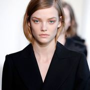 Clothing, Lip, Hairstyle, Collar, Chin, Forehead, Eyebrow, Outerwear, Eyelash, Coat,