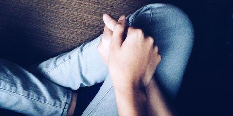 Skin, Human leg, Denim, Comfort, Joint, Jeans, Toe, Foot, Nail, Tan,