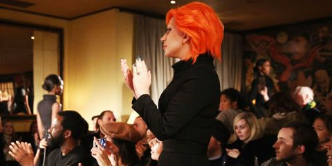 Finger, Hand, Wrist, Gesture, Wig, Audience, Red hair, Bangs, Blond, Thumb,