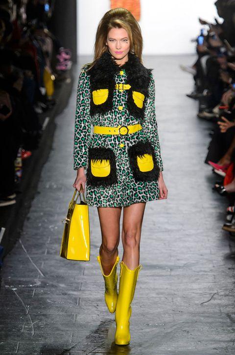 Clothing, Yellow, Textile, Outerwear, Style, Fashion show, Street fashion, Fashion model, Pattern, Winter,
