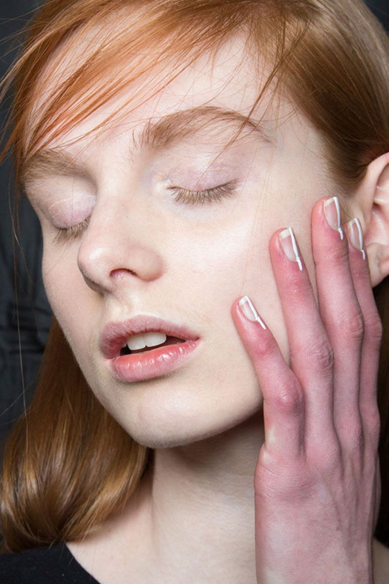 "<p>""Sometimes the simplest detail is the most effective,"" says nail artist Keri Blair. She went minimal in her design for Delpozo, painting a thin white line that extended past the cuticle. </p>"