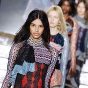 Textile, Winter, Style, Street fashion, Fashion, Youth, Pattern, Fashion model, Long hair, Fashion show,