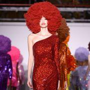 Red, Mannequin, Wig, Jheri curl, Magenta, Red hair, Fashion, Ringlet, Violet, Artificial hair integrations,