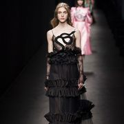 Dress, Style, Fashion model, Fashion show, Formal wear, Fashion, Gown, Youth, Waist, Model,