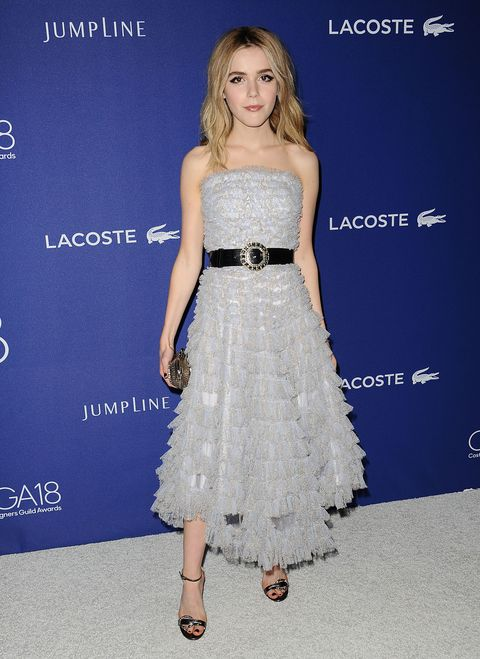 <p>Who: Kiernan Shipka </p><p>When: February 23, 2016</p><p>Why: Actress Kiernan Shipka attended the 18th Costume Designers Guild in a tea-length dress by Alexander McQueen. Smart move on the addition of a statement belt—it gives much-needed structure to the frilly, tiered dress. </p>