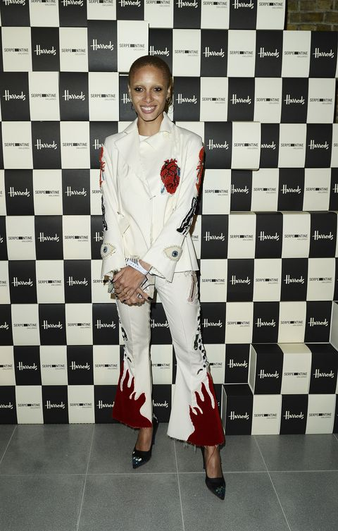 <p>Who: Adwoa Aboah </p><p>When: February 20, 2016 </p><p>Why: Model on the rise, Adwao Aboah rocked a <em></em>bold<em> </em>Dilara Findikoglu white suit for a party in London this week. Emblazoned with bodily organs, lobsters, and  flames, it's everything our bedazzled-loving hearts desire. </p>