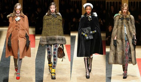 <p>There's something so chic about a woman who can pull off a cape, be it tartan plaid, velvet, or fur. A carry-over from Miuccia Prada's menswear show, these toppers are sure to be a must-have next season.  </p>