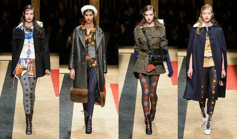 <p>Never have I wanted a pair of argyle tights more than after seeing these ones from Prada. They bring a smart but sexy touch to the mini skirts and dresses with which they were paired. </p>