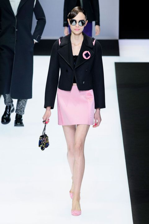 Clothing, Eyewear, Sleeve, Shoulder, Textile, Collar, Joint, Outerwear, Fashion model, Pink,