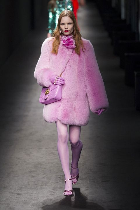 Clothing, Outerwear, Magenta, Pink, Purple, Fashion show, Coat, Winter, Fashion model, Dress,