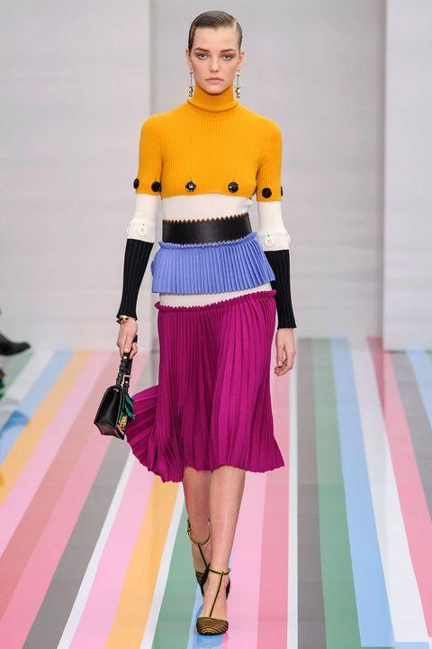 Clothing, Shoulder, Textile, Pink, Style, Flooring, Fashion accessory, Fashion show, Carpet, Waist,