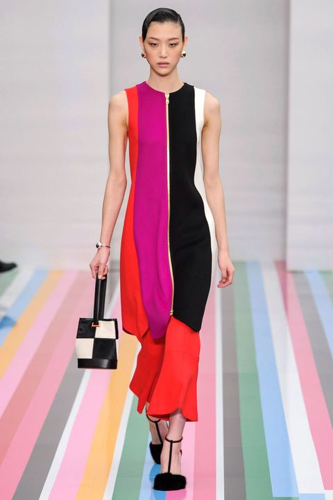 Shoulder, Textile, Joint, Dress, Red, Pink, Style, Fashion show, Fashion accessory, Fashion model,